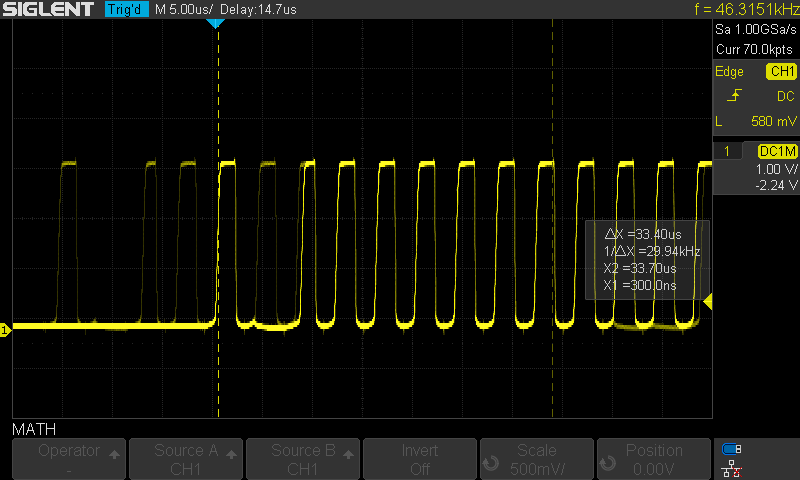 Waveform produced with the bipolar open-collector driver