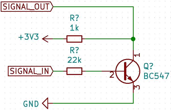 Schematics for the attempt with a bipolar transistor